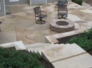 Firepit and stone steps Lawnworks,Inc