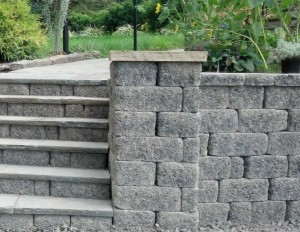 block and stone steps Lawnworks, Inc